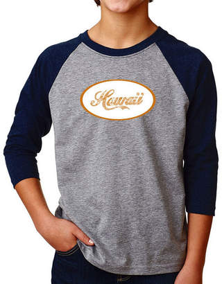 LOS ANGELES POP ART Los Angeles Pop Art Boy's Raglan Baseball Word Art T-shirt - HAWAIIAN ISLAND NAMES & IMAGERY
