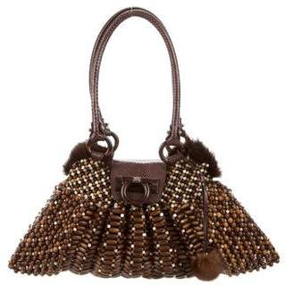 Salvatore Ferragamo Mink Fur-Trimmed Handle Bag