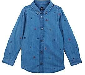 Scotch Shrunk KIDS' EMBROIDERED COTTON CHAMBRAY SHIRT - BLUE SIZE 12 YRS