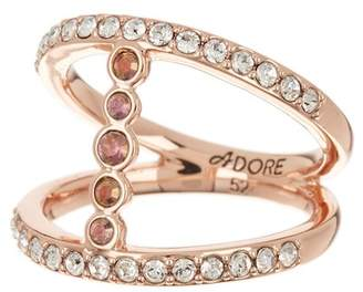 Adore Rose Gold Plated Pave & Bezel Set Swarovski Crystal Accent Split Shank Ring - Size 8