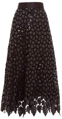 Marc Jacobs Sequinned Guipure Lace Midi Skirt - Womens - Black Multi