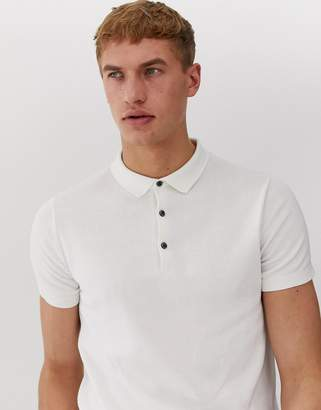Jack and Jones knitted polo in washed beige