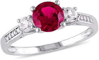 FINE JEWELRY Womens Diamond Accent Lab Created Round Red Ruby 10K Gold 3-Stone Ring