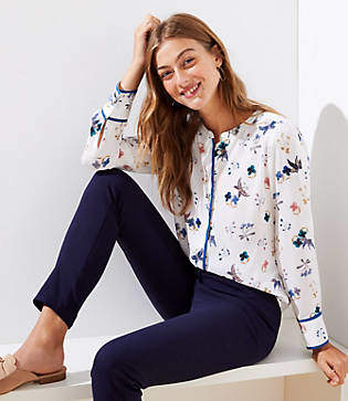 LOFT Petite Butterfly Collarless Utility Blouse