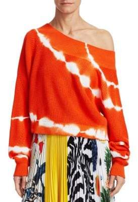 MSGM Tie-Dye Off-Shoulder Knit Sweater