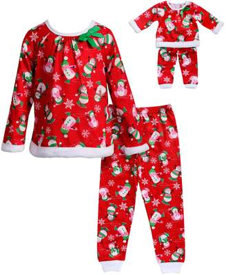 Dollie & Me Girls 4-14 Snowmen Raglan Top & Bottoms Pajama Set