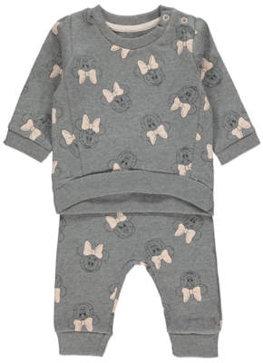 Disney George Minnie Mouse Print Grey Sweatshirt & Jogger Outfit