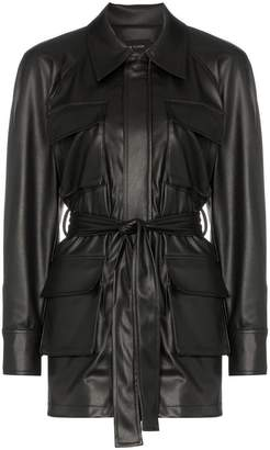 Low Classic belted flap pocket faux leather jacket