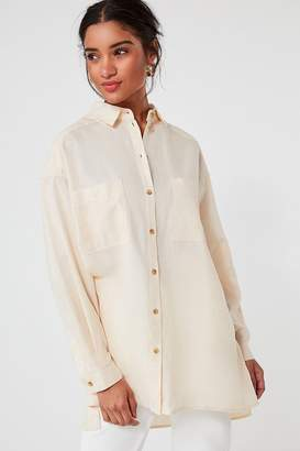 Urban Outfitters Gracie Oversized Linen Button-Down Shirt