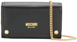 Moschino printed logo clutch bag