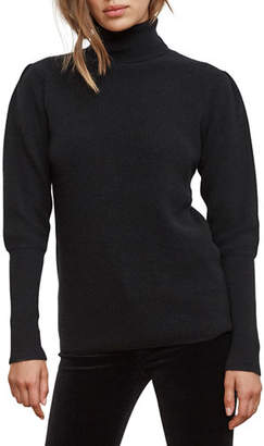 Velvet Babette Puff-Sleeve Cashmere Turtleneck Sweater