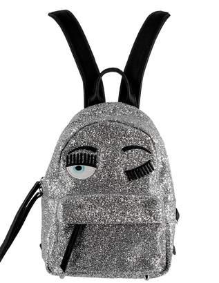 Chiara Ferragni Silver Glitter Backpack
