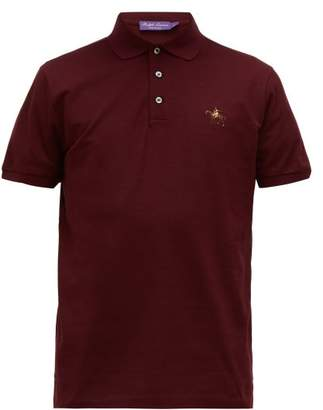 Ralph Lauren Purple Label Logo Embroidered Cotton Pique Polo Shirt - Mens - Burgundy