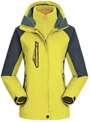 Echo Paths Women's 3-in-1 Mountain Jacket Removable Fleece Lining Outdoor Waterproof Sportswear L
