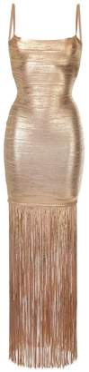 Herve Leger fringed shimmer dress