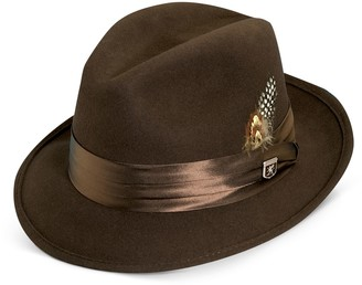 5a74161187f Stacy Adams Men s Wool Felt Fedora With Feather