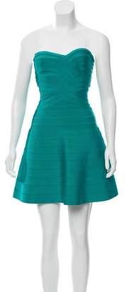 Herve Leger Bandage Strapless Dress Teal Bandage Strapless Dress