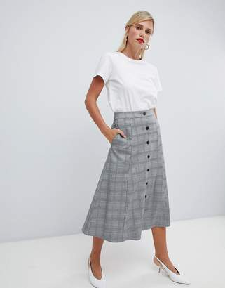 Vila Check Button Through Skirt