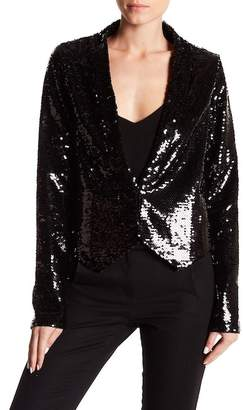 Whyte Eyelash Colorful Sequin Shawl Collar Crop Jacket