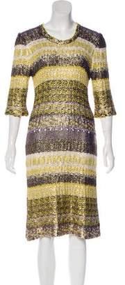 Oscar de la Renta Silk Metallic Mini Dress
