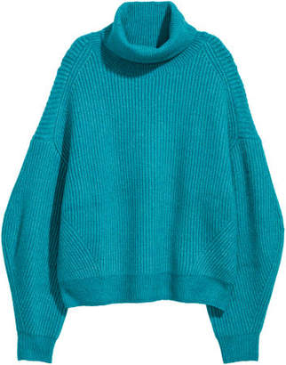 H&M Knit Turtleneck Sweater - Turquoise