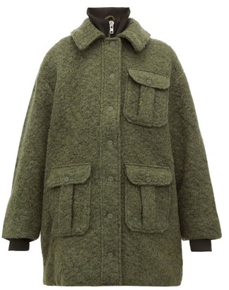 Ganni High Neck Boucle Wool Blend Coat - Womens - Khaki