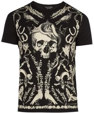 Alexander McQueen Skull Print Cotton Jersey T Shirt - Mens - Black Multi