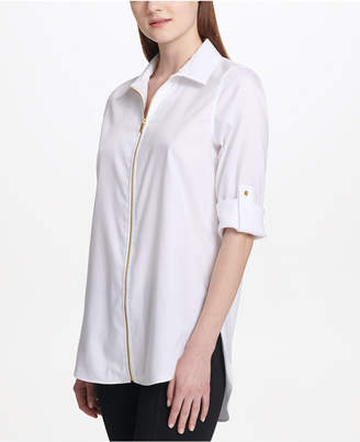 Calvin Klein Zipper-Front Roll-Tab Sleeve Blouse