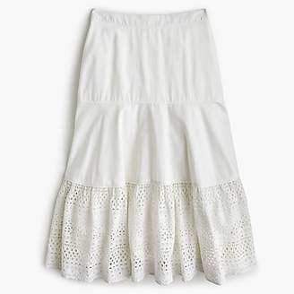 J.Crew Point Sur tiered skirt in mixed eyelet