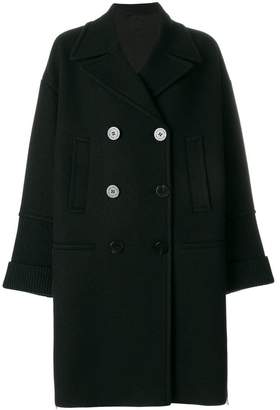 Neil Barrett ribbed detail double breasted coat