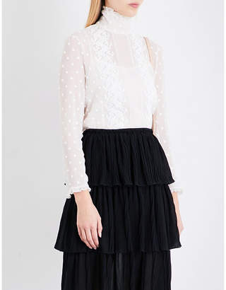 See By Chloe Frilled collar polka dot-embroidered chiffon blouse $270 thestylecure.com