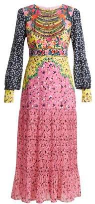 Saloni Vera Daisy floral-print silk dress