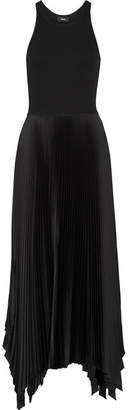 Vinessi Ribbed Stretch-knit And Pleated Satin Maxi Dress - Black