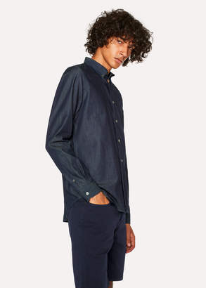 Paul Smith Men's Tailored-Fit Dark Navy Denim Button-Down Shirt