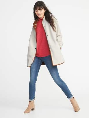 Old Navy Long Sherpa Faux-Suede Lined Coat for Women