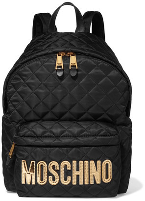 Moschino - Appliquéd Quilted Shell Backpack - Gold $595 thestylecure.com
