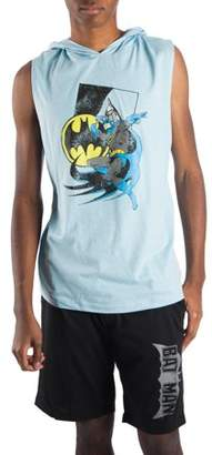Batman Men's 2 Piece Classic Muscle Tee Hoodie and Sleep Short Pajama Lounge Combo, Size 2XL