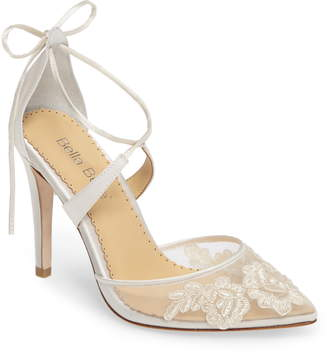 9b3553e6d Bella Belle Anita Illusion Lace Cross Strap Pump