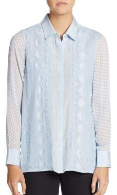Robert Graham Leila Eyelet-Trim Lace Silk Blouse