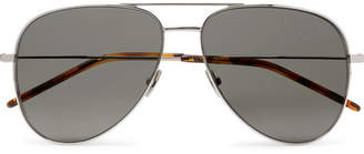 Saint Laurent Classic 11 Aviator-Style Silver-Tone Metal Sunglasses