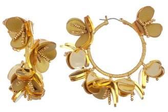 Oscar de la Renta Multi Flower Hoop Earrings