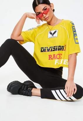 Missguided Yellow Racer Detail Raglan Cropped T Shirt