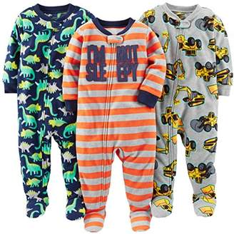 Carter's Simple Joys by Boys' 3-Pack Loose Fit Flame Resistant Fleece Footed Pajamas