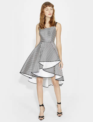 Halston STRIPED DRESS WITH FULL SKIRT