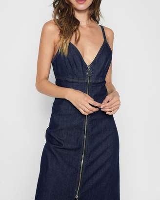 7 For All Mankind Slip Dress with Zip in Nightfall