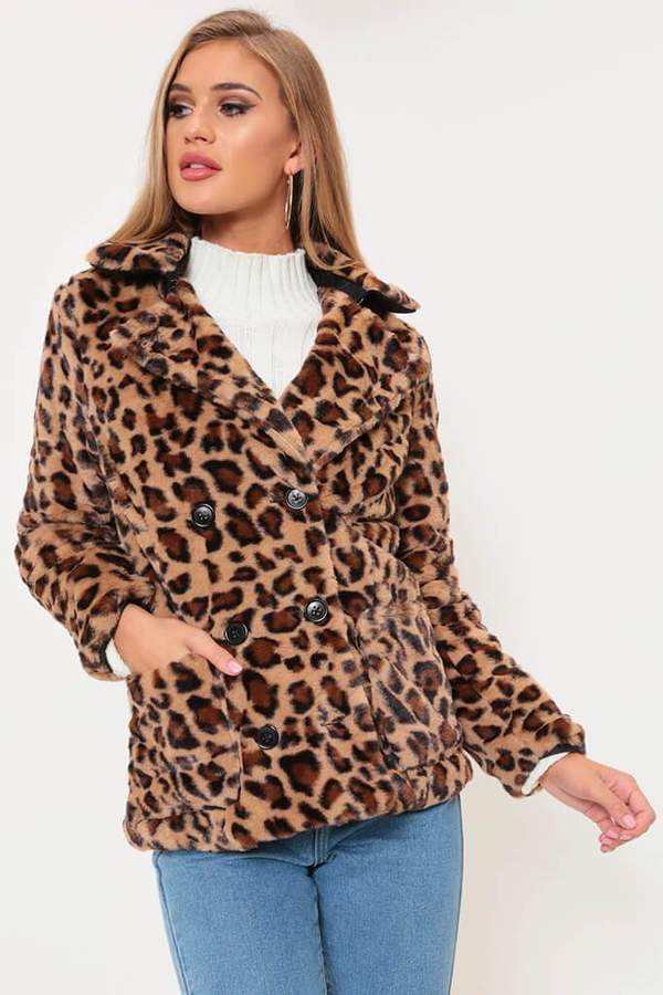 Isawitfirst Leopard Print Double Breasted Faux Fur Coat