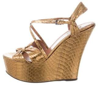 Alaia Snakeskin Wedge Sandals