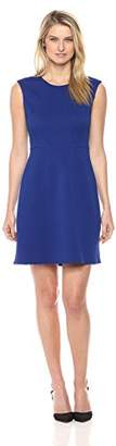 London Times Women's Cap Sleeve Round Neck Fit and Flare Dress