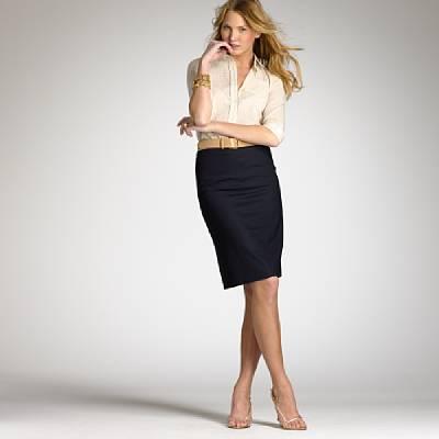 Stretch wool pinstripe pencil skirt