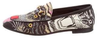 Gucci 2018 Satin Angry Cat Horsebit Loafers